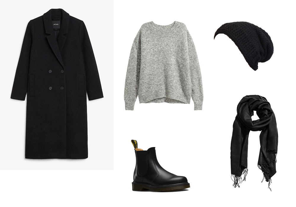 Fashion Favorites for Fall: Wool Coat, Knitted sweater, Leather boots, Slouchy beanie, Scarf