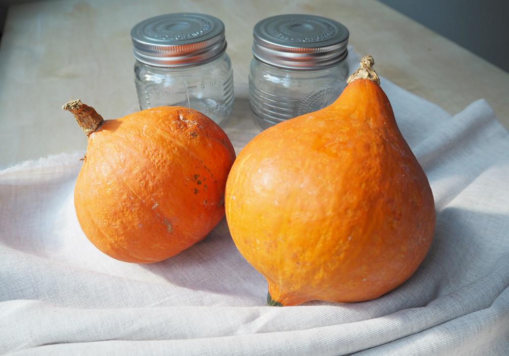The two Hokkaido pumpkins